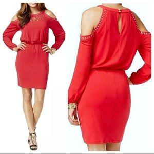 Thalia Sodi Dress XL Cold Shoulder Embellished Red